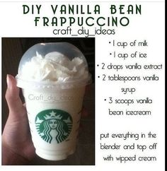 Diy vanilla bean frappe More from my Homemade Starbucks Recipes – Vanilla Bean Secret Starbucks Menu Items You Need to Have – Cinnamon Roll frappe ( vanilla…Easy Vanilla FrappeVanilla FrappeVanilla And Chocolate Icecream FrappeFrench Vanilla Frappe Yummy Drinks, Healthy Drinks, Yummy Food, Tasty, Drink Recipes Nonalcoholic, Kid Drinks, Healthy Nutrition, Healthy Eating, Bebidas Do Starbucks