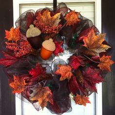 Fall deco mesh wreath are so easy to make and they are so much fun to make I have made some of these for craft fairs and xmas gifts