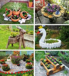 Ideias para o Jardim - CraftIdea. Garden Yard Ideas, Garden Crafts, Diy Garden Decor, Garden Projects, Garden Art, Garden Design, Garden Decorations, Patio Ideas, Garden Tools