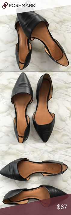 J. Crew Factory D'Orsay Black Leather Flats Sz 8.5 The D'Orsay flat is a timeless classic that goes with everything. Wear these to work, pair them with jeans, or throw them on for brunch with the girls. Preowned from a smoke free home, in very good used condition, with some scuffs and wear as pictured. Check out the other items in my closet and create your own custom bundle! J. Crew Factory Shoes Flats & Loafers