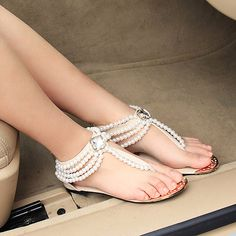 Handmade Bridal Shoes Comfortable Flats sandal colors blacl or white