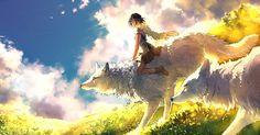 HD wallpaper: girl riding white wolf wallpaper, Studio Ghibli, Princess Mononoke