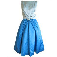 Estevez blue silk day dress with sexy low back | 1stdibs.com