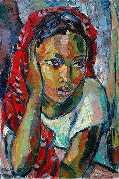 Johans Borman Fine Art / Contemporary Artists / Niemann, Hennie Jnr / The red scarf - SOLD Figure Painting, Painting & Drawing, Art History Major, Abstract Face Art, South African Artists, Fantasy Kunst, Southwest Art, Art For Art Sake, Portrait Art