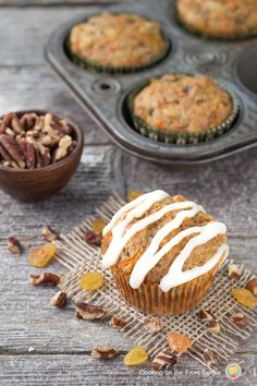 Cream Cheese Glazed Carrot Cake Muffins
