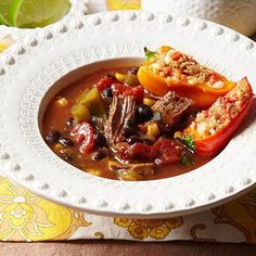 Mexican Shredded Beef Soup with Stuffed Mini Peppers
