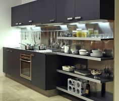 Small Straight Kitchen Design. A small kitchen with contemporary black cabinets  open shelves and a stainless steel backsplash Photo in Modern Black Kitchens Do it Yourself Home Ideas 3 room HDB flat Tampines Singapore white