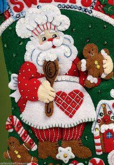Bucilla 2013 Special Release ~ Santas Bakery ~ 16 Felt Christmas Stocking Kit #86437. IMPORTANT ~ Please note that this is a 16 stocking kit. It could be modified to make it an 18 kit by a more experienced stocking maker but if it is made according to the instructions it will be a 16 stocking when completed. This kit was purchased direct from the manufacturer. The only way to get a kit in newer condition is to pick it up in person from the factory. While this 16 Santas Bakery stocking ki...