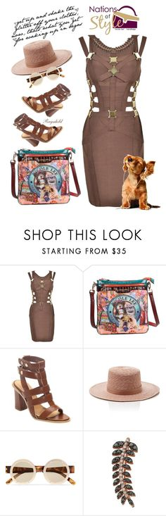 """""""Nicole Lee Bags"""" by ragnh-mjos ❤ liked on Polyvore featuring Nicole Lee, Janessa Leone, Le Specs and Bee Goddess"""
