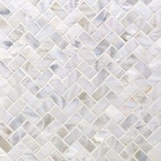 Oyster White Pearl Herringbone Tile - White - Shop By Color