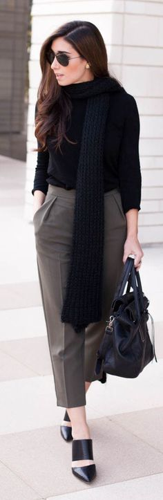 Black Sweater & Scarf & Taupe Ankle Pants.