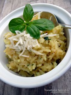 Basil Asiago Risotto ~ from Sumptuous Spoonfuls #basil #asiago #risotto #recipe