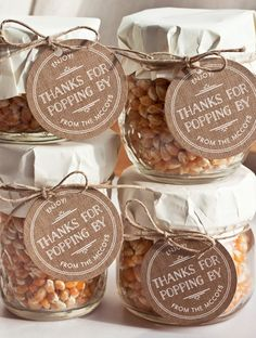 20 Edible Wedding Favors: popcorn kernel jars ...ADD diy ♥❤ www.customweddingprintables.com ... #customweddingprintables