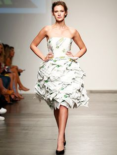 Subway Steals Fashion Week Spotlight with Sandwich-Wrapper-Themed Dresses - iVillage: if youre looking for something to wear tonight Beth.
