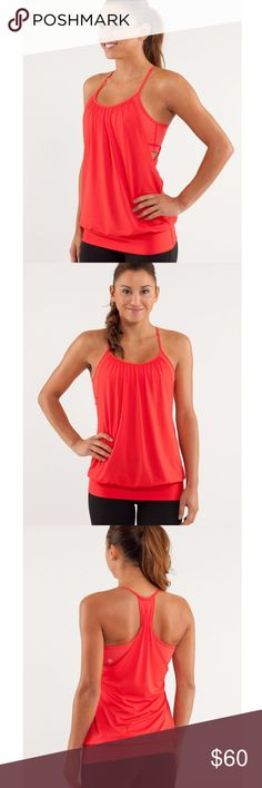 Lululemon No Limits Tank Love Red / Slope Stripe Lululemon No Limits Tank Love Red / Slope Stripe Love Red Fiery Red : To create this loose-fitting, light and airy tank we used a combination of luon in the bra and Circle Mesh in the core to optimize its movement and breathability. It's the perfect match for our Vinyasa practice where we like our clothes to mimic and accentuate our flow.   Excellent condition! Make me an offer. lululemon athletica Tops Tank Tops