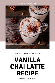 How to make an easy chai tea latte recipe with tea bags. This is a creamy and delicious homemade drink at home. I add vanilla to my DIY chai latte. This is easy to make sugar free, skinny, or low carb. It can also be vegan or dairy free with almond milk. This vanilla chai latte is an easy home made coffee house drink to make at home with a tea bag. #chailatte #chaitea #recipe