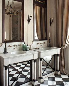 From the petite powder room to the home spa, our bathroom gallery provides plenty of ideas for sprucing up your place. Bad Inspiration, Bathroom Inspiration, Checkered Floors, Bathroom Gallery, Paris Apartments, Bathroom Interior, Parisian Bathroom, Parisian Apartment, Marble Interior