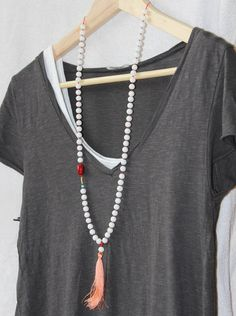 Long Beaded Tassel Necklace With Layered T