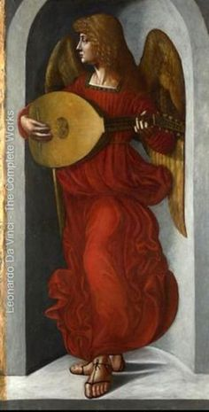 ♔ Angel in red with a lute ~ by Leonardo Da Vinci
