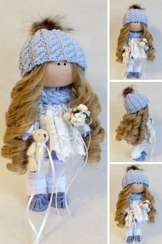 Bonita Rag doll Fabric doll Handmade doll Puppen Interior doll Soft doll Textile doll Tilda doll Art doll Blue doll Cloth doll by Oksana G Knitted Dolls, Soft Dolls, Fabric Dolls, Baby Dolls, Kids Dolls, Doll Clothes, Crochet Hats, Textiles, Crafts