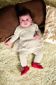 Vestido tricot com leg com detalhes em pele  Bebe Menina