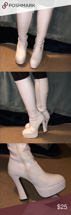 "a1330f1536421 Women s tall white 5"" heel boots Used once on Halloween"