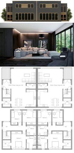1000 ideas about duplex house plans on pinterest duplex for Plan maison duplex