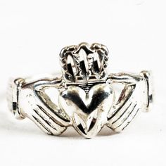 Vintage Irish Claddagh Ring Sterling Silver Ring Size by Spoonier, $35.00