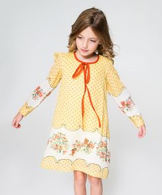 Look what I found on #zulily! Yellow & Red Dot Floral Dress - Toddler & Girls #zulilyfinds