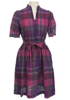 Plaid of Purple Dress. In a medium weight cotton this plaid dress, with button front, matching belt, and pretty pink purple and blue color combo, is vintage at its prettiest!  #modcloth