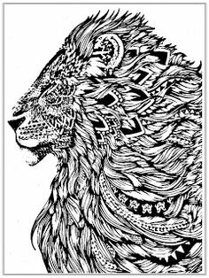lion cat abstract doodle zentangle paisley coloring pages colouring adult detailed advanced printable kleuren voor volwassenen - Coloring Pages Lions Tigers