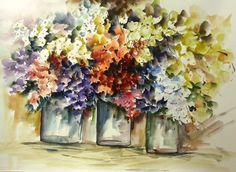 #BaiduImage pintura em aquarela de jarras de flores_Pesquisa do Baidu
