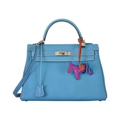 CLASSIC BEST HERMES KELLY BAG 32cm BLUE JEAN PALLADIUM HARDWARE LOVED | From a collection of rare vintage handbags and purses at https://www.1stdibs.com/fashion/accessories/handbags-purses/