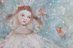 original acrylic ballerina floral portrait painting door fadedwest, $49.00