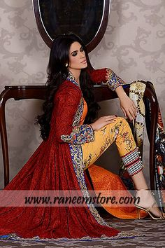 Asim Jofa Embroidered Lawn Collection 2014 availible in USA, Australia $203.00 This printed lawn gown features full sleeves length. Amazing embroidered work on the front, collor, sleeves and hem around. Printed lawn shirt (under top). Embroidered straight trousers. Wide