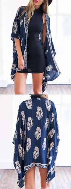 Navy Leaf Print Open Front Batwing Sleeve Kimono