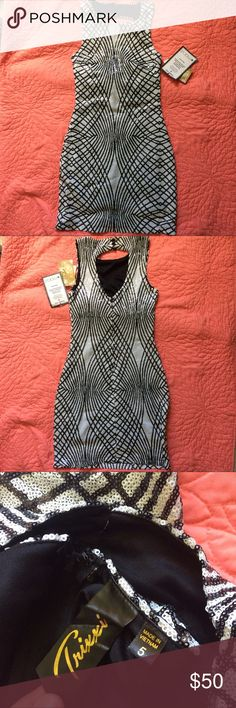 Trixxi sequined patterned sleeveless dress Bodycon dress never worn before! No snags, rips or missing patches of sequins, just didn't want the dress anymore! (My sister has the same one, she's the one pictured) Really cute and flattering! Still have the original bag Macy's shipped it in too. Not sold anymore. Trixxi Dresses Mini