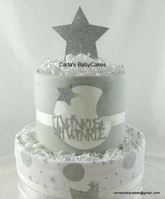 Baby Diaper Cake | Baby Shower Gift | Moon Stars diaper cake | Baby shower decoration| Baby sprinkle gift | Twinkle twinkle diaper cake