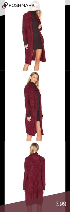 Mink Pink Long Wine Cardigan MINKPINK is everything you want and more with styles that vary from vintage bo-ho to modern sophisticated styles! This is such a stylish cardigan that goes with everything. I love it because it has pockets!!   100% acrylic Hand wash cold Knit fabric Open front Side pockets Color - Wine MINKPINK Sweaters Cardigans