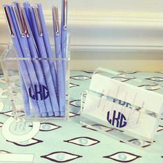 Monogrammed acrylic pencil cup and business card holder (only $14 each!).