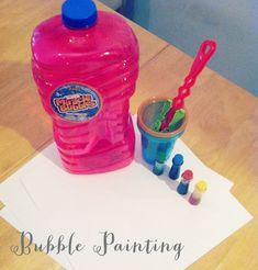 2-3 3-5 age group  Bubble Painting  Domains - creative, cognitive, fine, gross