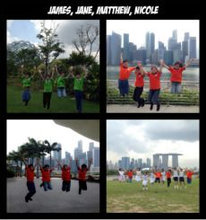 In the picture, we were jumping! Our teacher is so cool and creative 'cause she had lot of idea for us :)