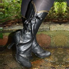 Black leather spats/ boot covers by CurveCoutureCorsetry on Etsy, £75.00