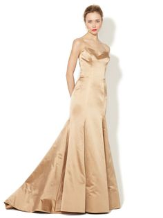 Silk Satin Strapless Mermaid Gown by Reem Acra on Gilt.com