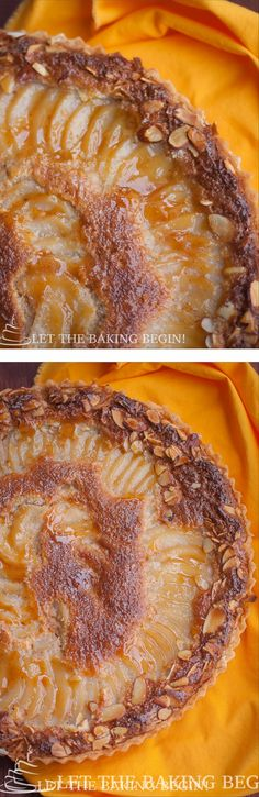 Flaky crust, creamy almond filling, booze & vanilla infused pears and topped with  toasted almonds for the crunch -Decadence! LettheBakingBeginBlog.com- Let the Baking Begin!