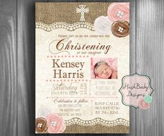Items similar to Christening Baptism Photo Shabby Chic Rustic Burlap Lace Invitation PRINTABLE! Roses Vintage on Etsy Blue Shabby Chic, Shabby Chic Baby Shower, Baptism Photos, Baptism Ideas, Burlap Lace, Baptism Invitations, Favor Tags, Party Printables, Chic Wedding