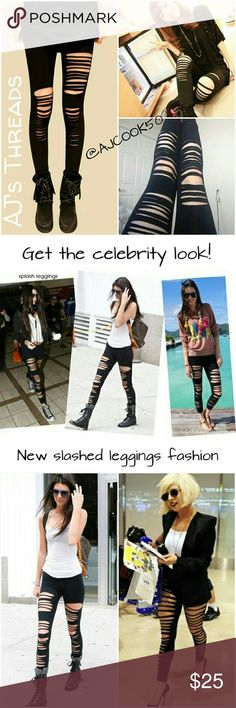 """?Coming Soon?Celebrity Slashed Leggings Get the celebrity look with these new hot and sexy slashed leggings. As seen worn by Lady Gaga and Kendall Jenner. Material: Knitted Cotton Size: OSFM 0-10 Fabric stretches Hip: 29.5 """" - 43.3"""" Waist: 21.65"""" - 39.37"""" Pants Leggings"""