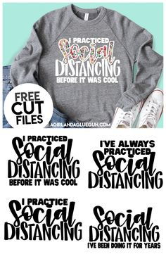 Social Distancing cut File I feel like we might all need a little comedic break from the covid 19 news! So enjoy this free social distancing cut file! Patterned Vinyl, Cricut Explore Air, Vinyl Projects, Circuit Projects, Sewing Projects, Vinyl Shirts, Silhouette Cameo Projects, Svg Files For Cricut, Cricut Fonts
