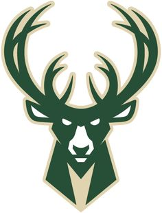 Milwaukee Bucks Alternate Logo (2016) - Green and cream buck deer head with stylized M in the neck