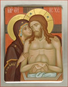 We offer this lacquered icon Weep Not For Me, O Mother from a workshop of St Elisabeth Convent. This icon shows the Mother of God weeping for her Son